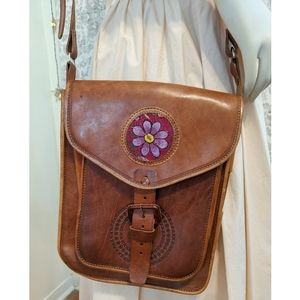 Handmade in Mexico leather Embroidered Floral Bag